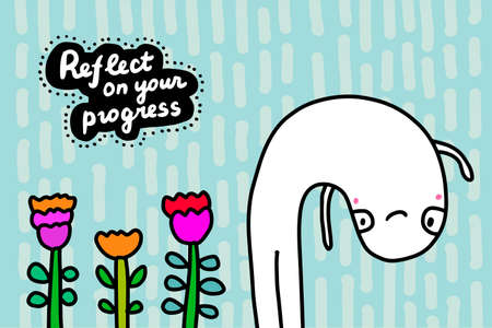 Reflect on your progress hand drawn vector illustration in cartoon doodle style man looks himself