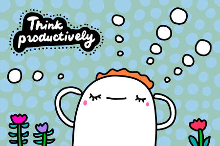 Think productively hand drawn vector illustration in cartoon doodle style man bubbles