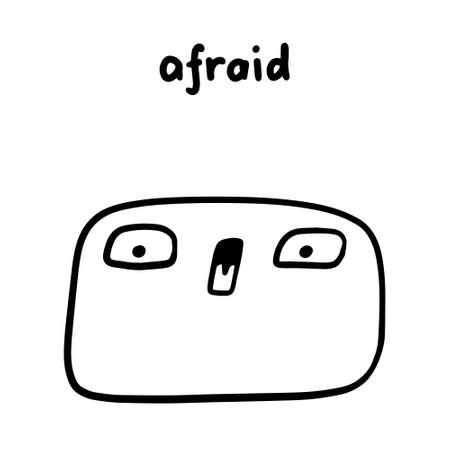Afraid emotion hand drawn vector illustration in cartoon doodle style man expressive face Иллюстрация