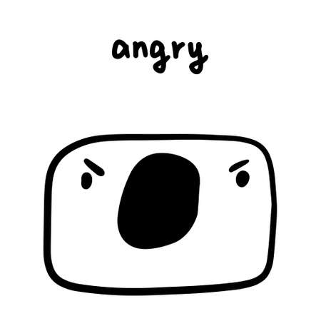 Angry emotion hand drawn vector illustration in cartoon doodle style man expressive