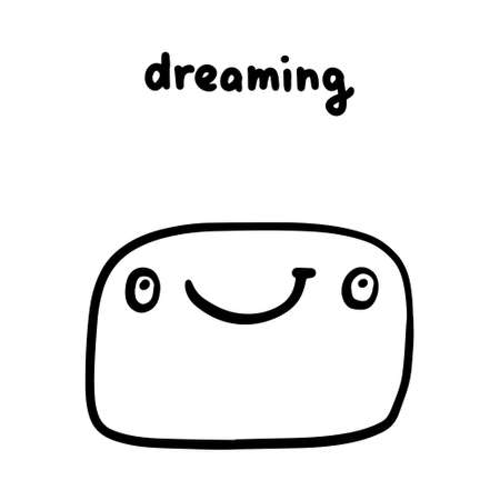 Dreaming hand drawn vector illustration in cartoon doodle style face expressive emotion man