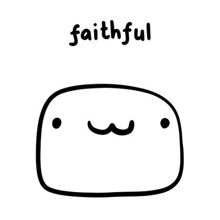 Faithful hand drawn vector illustration in cartoon doodle style face expressive emotion man Иллюстрация