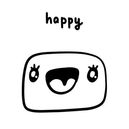 Happy hand drawn vector illustration in cartoon doodle style face expressive emotion man Иллюстрация