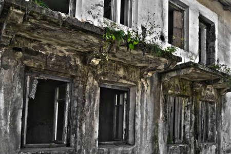 lejano oriente: Ruinas del edificio en mal estado cubierta por la vegetaci�n. La foto fue hecha en un pueblo lejano de Lejano Oriente de Rusia. Hay muchas casas abandonadas en la ciudad. La gente est� tratando de dejar esta ciudad debido a la pobreza y el desempleo. Foto de archivo