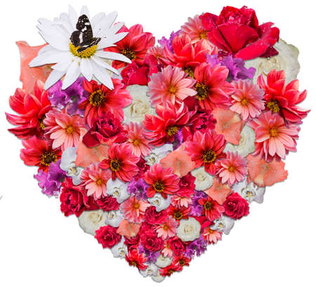 Beautiful heart made of different flowers as a symbol of love on white background. Heart consists of chamomile, rose, dahlia, petunia, orchid that impart diversity and expressiveness to the picture. Can be used for creating of greeting cards. Stock Photo