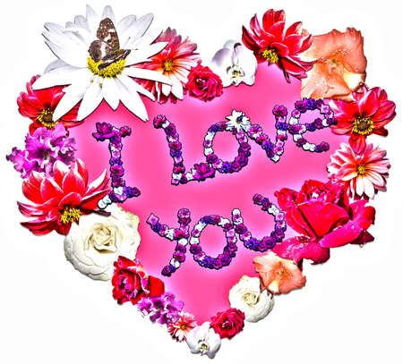 legend: Beautiful heart with legend made of different flowers as a symbol of love for greeting card.