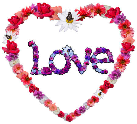 Beautiful heart with legend made of different flowers as a symbol of love on white background.