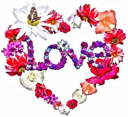 legend: Beautiful heart with legend made of different flowers as a symbol of love on white background.