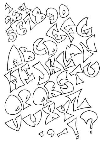 uncolored: Set of isolated black uncolored alphabet letters on white background. Letters, numerals and punctuation marks.