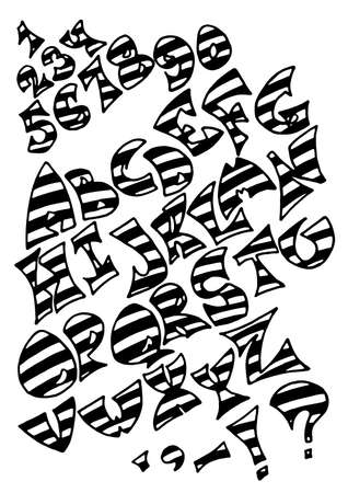 striated: Set of isolated black stripy uncolored alphabet letters on white background. Letters, numerals and punctuation marks.
