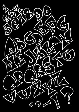 Set of isolated white uncolored alphabet letters on black background. Letters, numerals and punctuation marks.