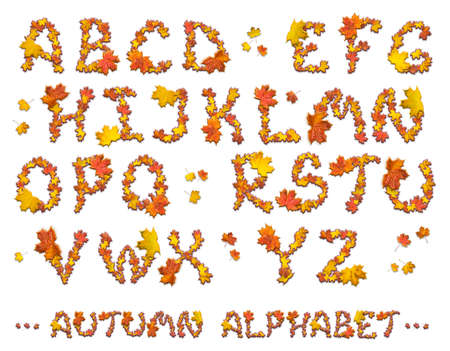 Set of isolated autumn alphabet letters on white background. Stock Photo
