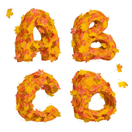Set of isolated huge three-dimensional autumn alphabet letters A, B, C, D on white background. 3D render.