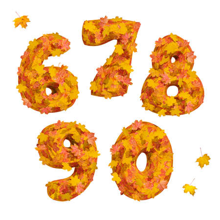 Set of isolated huge three-dimensional autumn numbers 6, 7, 8, 9, 0 on white background. 3D render. background. 3D render. Stock Photo