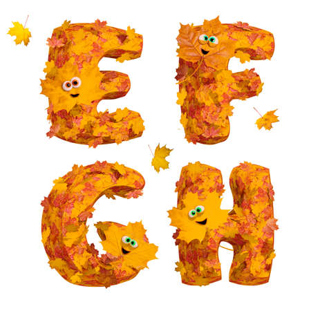Set of isolated huge animated three-dimensional autumn alphabet letters E, F, G, H on white background. 3D render.