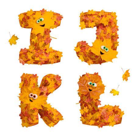 Set of isolated huge animated three-dimensional autumn alphabet letters I, J, K, L on white background. 3D render.
