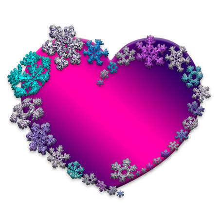 Beautiful pink heart made with different snowflakes on white background. Symbol of love and Valentines Day. 3D render.