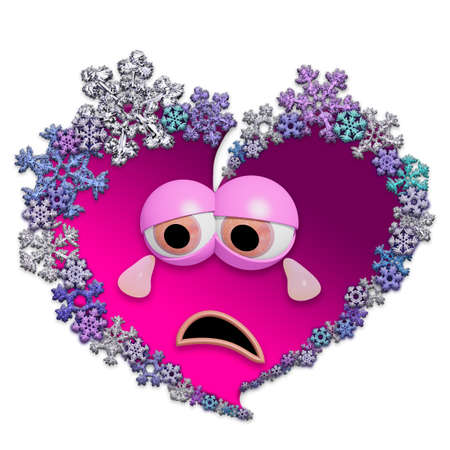 Sad animated pink heart made of different snowflakes on white background. Symbol of broken heart. 3D render. Stock Photo