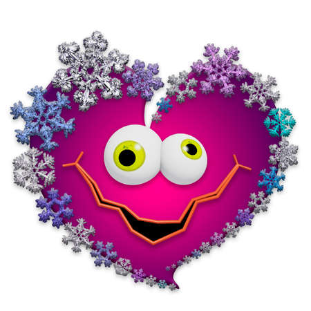 Funny animated pink heart made of different snowflakes on white background. Symbol of love, wedding and Valentines Day. 3D render. Stock Photo