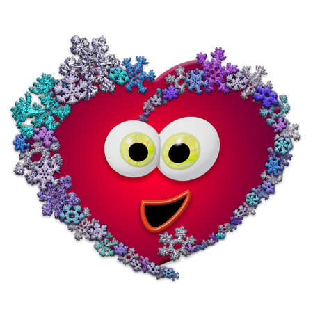 Funny animated red heart made of different snowflakes on white background. Symbol of love, wedding and Valentines Day. 3D render.