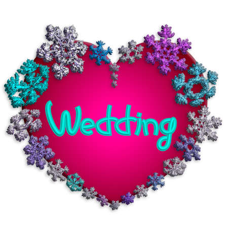 Beautiful pink heart with lettering Wedding made of different snowflakes on white background. Symbol of love, wedding and Valentines Day. 3D render. 写真素材