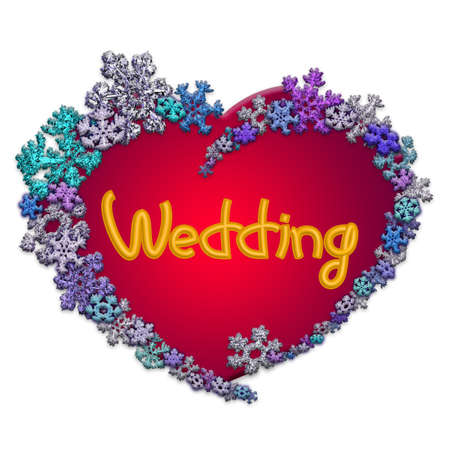 Beautiful red heart with lettering Wedding made of different snowflakes on white background. Symbol of love, wedding and Valentines Day. 3D render.