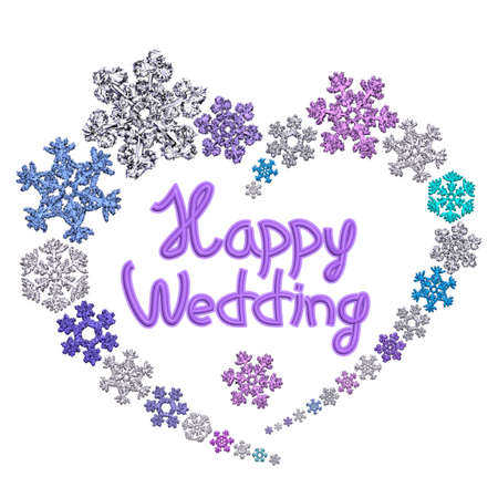 Beautiful heart shape with lettering Happy Wedding made of different snowflakes on white background. Symbol of love, wedding and Valentines Day. 3D render.