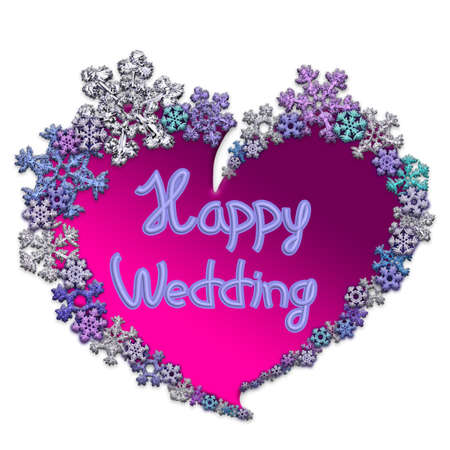 Beautiful pink heart with lettering Happy Wedding made of different snowflakes on white background. Symbol of love, wedding and Valentines Day. 3D render.