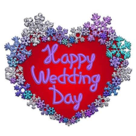 Beautiful red heart with lettering Happy Wedding Day made of different snowflakes on white background. Symbol of love, wedding and Valentines Day. 3D render.