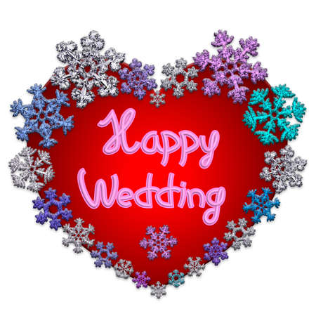 Beautiful red heart with lettering Happy Wedding made of different snowflakes on white background. Symbol of love, wedding and Valentines Day. 3D render.