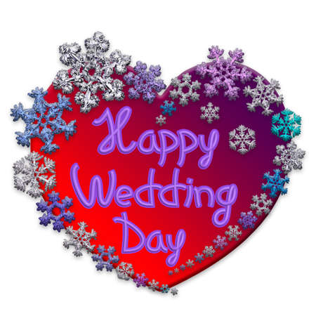 Beautiful pink heart with lettering Happy Wedding Day made of different snowflakes on white background. Symbol of love, wedding and Valentines Day. 3D render. 写真素材