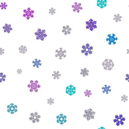 Jointless texture of different multicolored snowflakes on white background. 3D render. 写真素材