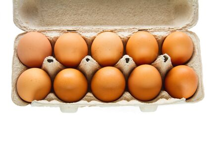 Chicken eggs in pulp egg carton isolated on white background.
