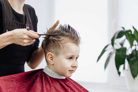 Little smiling boy gets his hair cut with a pair of barber scissors. Close-up of woman hands grooming kid boy hair in barber shop. Portrait of male child at the barber shop to cut his hair. Reklamní fotografie