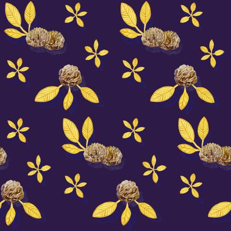 violet background: Vintage pattern with cookies and gold leaves on a violet background for your design. Hand drawn watercolor illustration