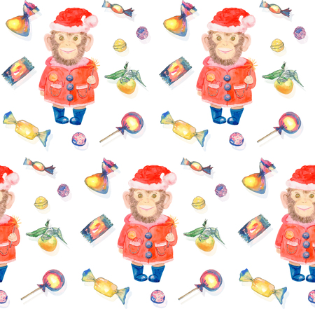 monkey suit: Pattern with sweets and a smiling monkey in a New Years suit and Christmas hat on a white background. Merry Christmas and Happy New Year watercolor illustration for design of invitations, movie posters, fabrics, fashion print and textile. Chinese zodiac