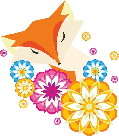 fox in flowers. nature Illustration