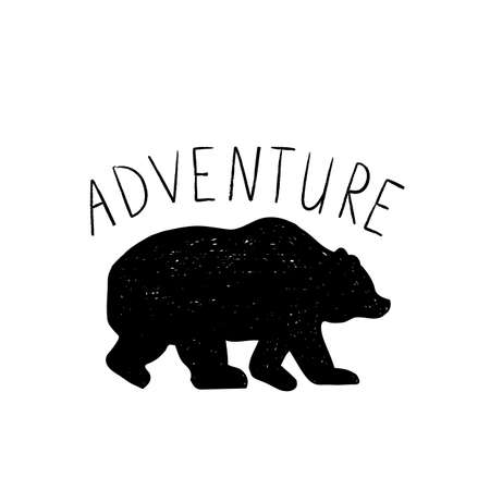 Tribal illustration with wild forest design elements, bear and Adventure phrase.