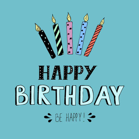 Happy Birthday Lettering Vector Illustration With Candles Stock