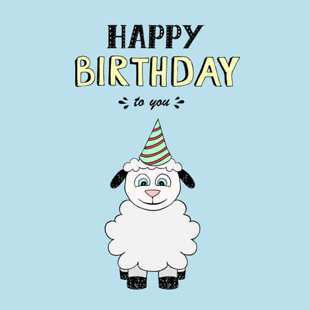 Happy Birthday  lettering, vector illustration with baby sheep. Good for header, invitation, banner, greeting card, baby shower