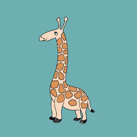 Vector illustration of  baby giraffe. Isolated cartoon animal