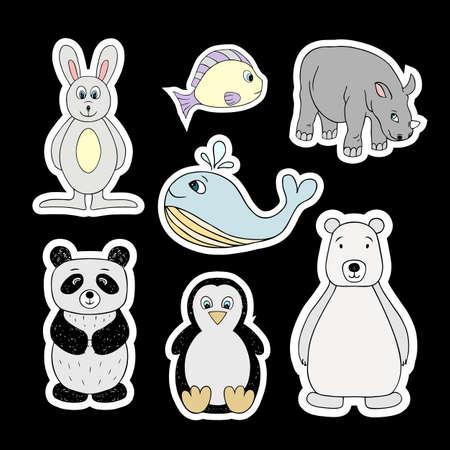 Set of vector stickers of baby animals. Isolated cartoon animals Illustration