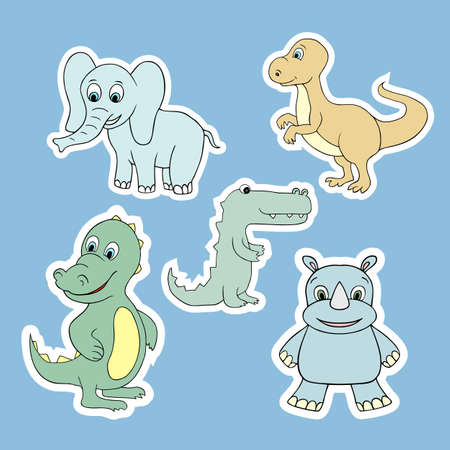 Set of vector stickers of baby animals. Illustration