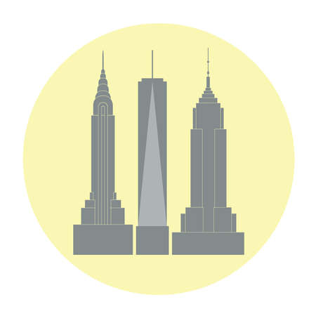 Vector llustration of New York city famous skyscrapers in trendy flat style