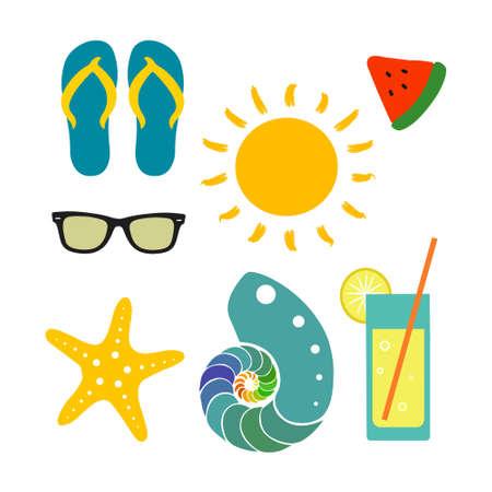 Summer collection with sun, flip flops, watermelon, sunglasses, shell, starfish, lemonade Illustration