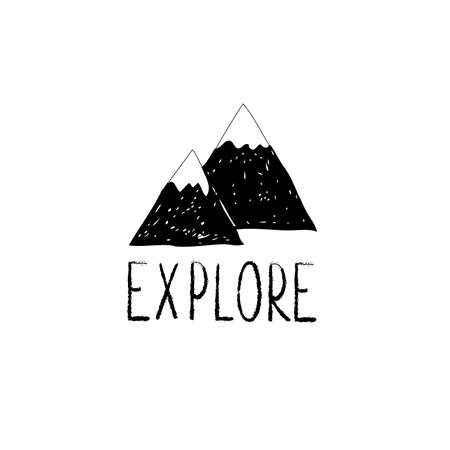 Explore lettering with wild forest  drawn mountains Çizim