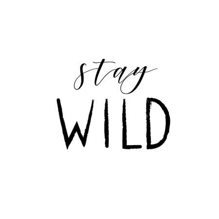 Hand drawn tribal illustration with Stay wild lettering