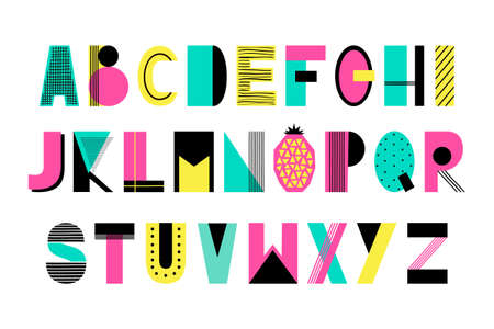 Hand Drawn Summer creative alphabet in trendy vector style Illustration