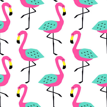 Funny summer tropical pattern with flamingos. Creative illustration in cutout style
