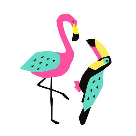 Funny summer tropical birds.